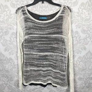 Alice + Olivia Black White Layered Mesh Sweater